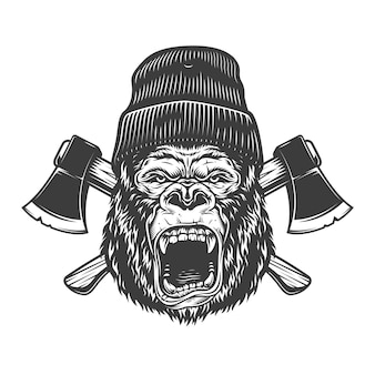 Angry gorilla head in lumberjack hat