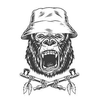 Angry gorilla head in panama hat