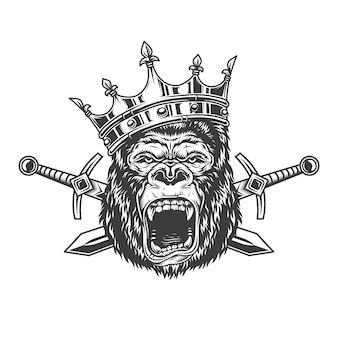 Angry gorilla head in royal crown