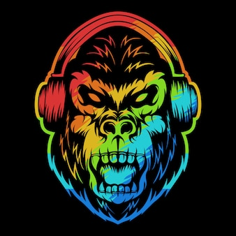 Angry gorilla headphone colorful illustration