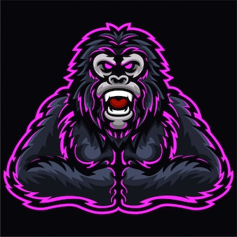 Angry gorilla kings monkey fist logo template
