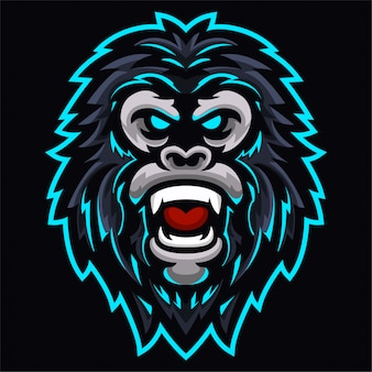 Angry gorilla kings monkey head logo template
