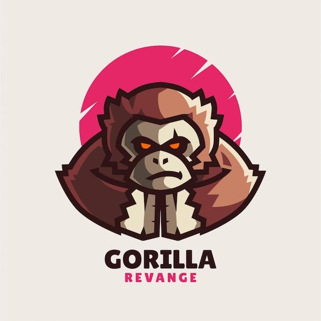 Злой горилла талисман логотип Premium векторы