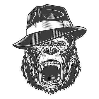 Gorilla arrabbiato in stile monocromatico