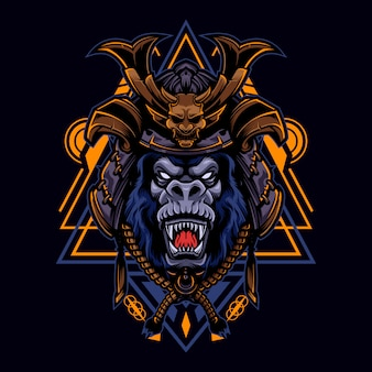 Angry gorilla vintage logo style with samurai helmet
