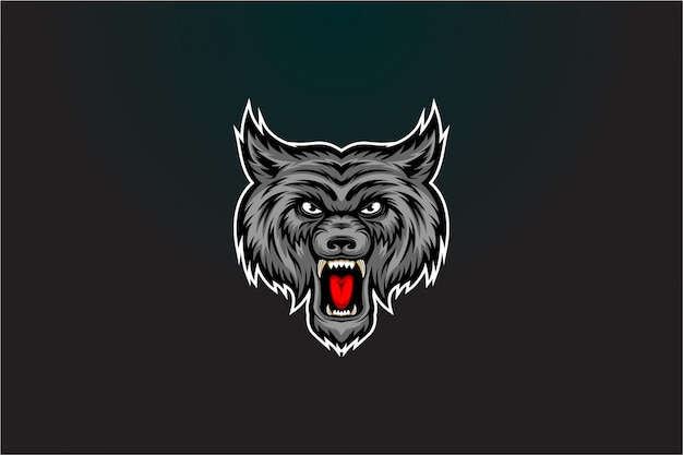 Angry grey wolf vector