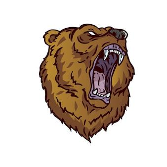 Angry grizzlies bear head логотип характер иллюстрации