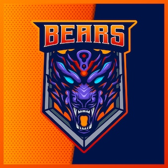 Angry grizzly bear beast esport and sport mascot logo