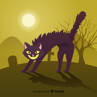 Angry halloween cat background