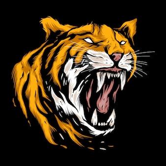 Angry head tiger mascot illustration