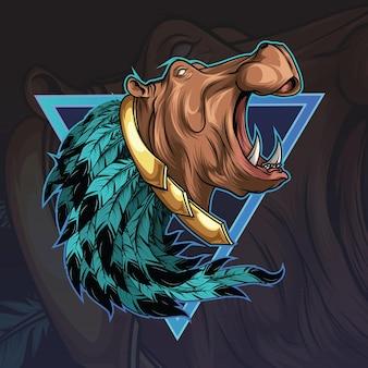 怒っているカバの頭のマスコット
