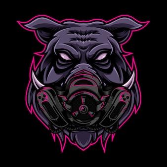 怒っている豚ビンテージロゴスタイルとマスク