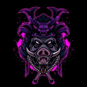 サムライヘルメットと怒っている豚ビンテージロゴスタイル