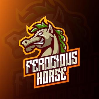 Злой конский талисман киберспорт дизайн логотипа. вид сбоку дизайн логотипа головы лошади.
