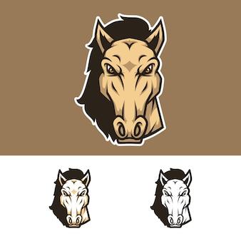 Angry horse head mascot logo