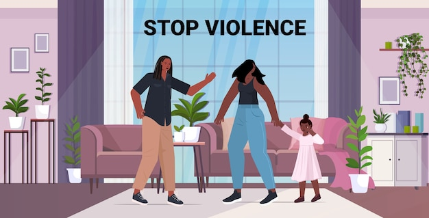 Angry husband punching and hitting wife with daughter stop domestic violence and aggression against women living room interior