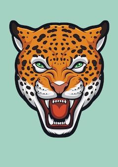 Angry jaguar face, panthera onca