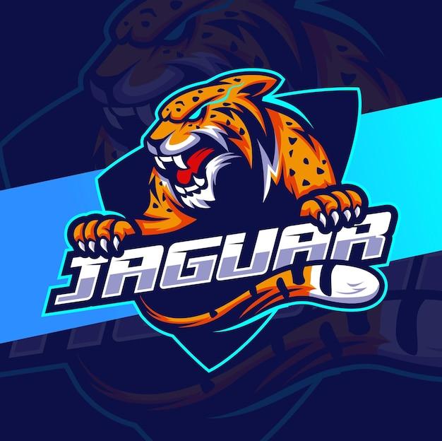 怒っているジャガーヒョウのマスコットeスポーツのロゴデザイン