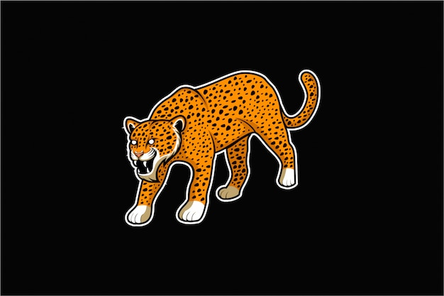 Angry jaguar standing vector