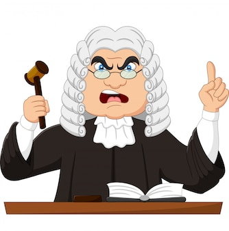 Angry judge holding gavel and pointing up