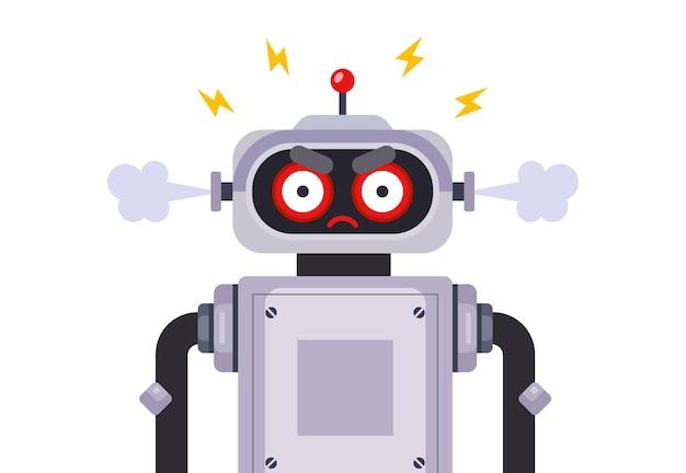 Злой робот-убийца на белом фоне. плоский характер векторные иллюстрации