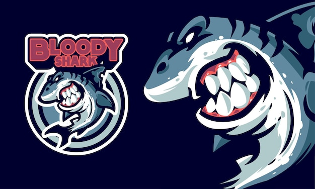 Angry killer shark sports logo  illustration