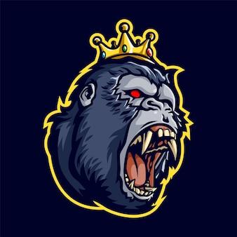 Angry king kong head mascot illustration