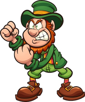 Angry leprechaun holding fists up ready to fight cartoon