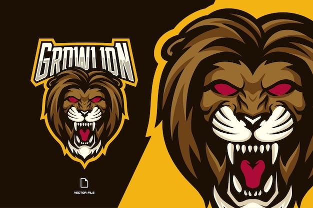 Eスポーツゲームチームの怒っているライオンの頭のマスコットのロゴ