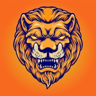 Angry lion head mascot logo