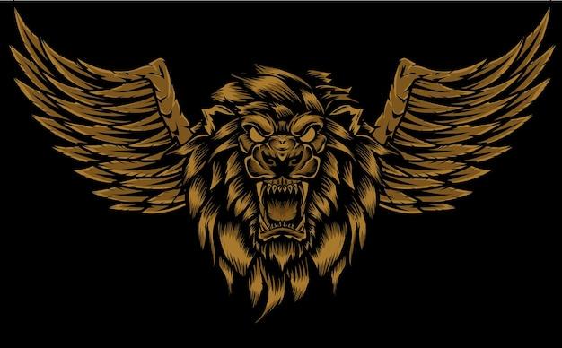 翼のイラストと怒っているライオンの頭