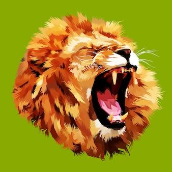 怒っているライオンの頭