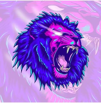 怒っているライオンのイラストデザイン