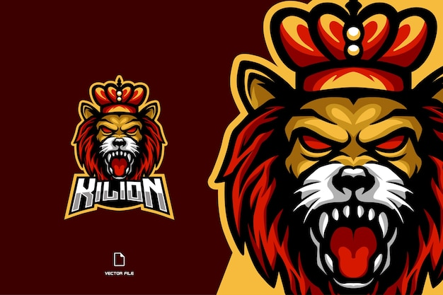 Angry lion king head mascot esport game for sport gaming team logo