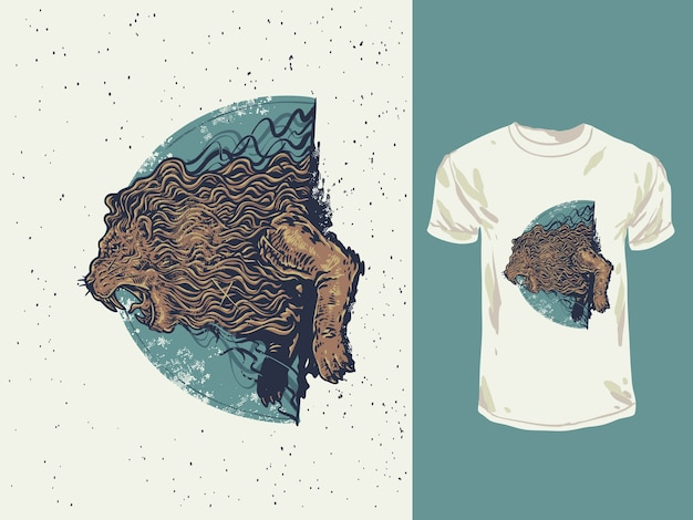 The angry lion roaring with a vintage colors hand drawn illustration