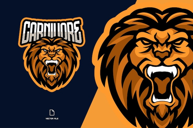 Angry lion with fangs mascot esport logo illustration team