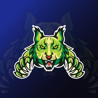 Angry lynx with claw mascot for esport gaming