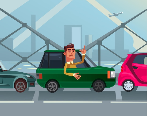 Angry mad businessman office worker character standing in traffic jam late to work job and showing obscene gesture flat cartoon illustration
