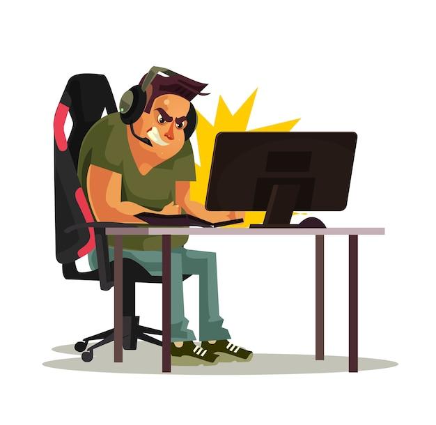 怒っている狂ったゲーマーキャラクターはゲームに負けてパンチpcキーボード、フラットな漫画のグラフィックを打つ