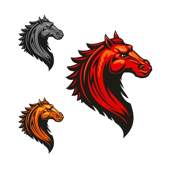 Angry mad horse clipart in fiery red, orange and grey colour variations. flaming wild mustang, decorated by tribal ornament.