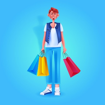 Angry man holding colorful purchases seasonal shopping special offer discount concept full length vector illustration