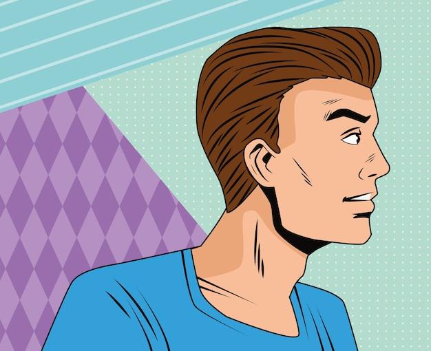 Злой человек профиль персонаж в стиле поп-арт