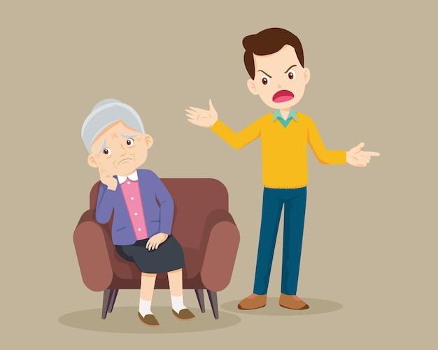 Злой мужчина ругает грустных стариков