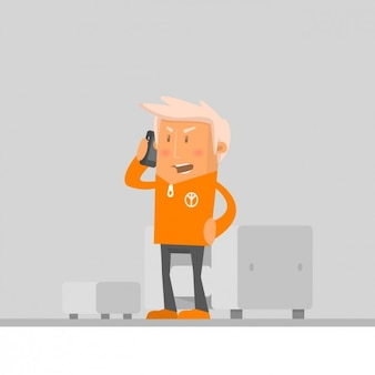 Angry man talking on his phone