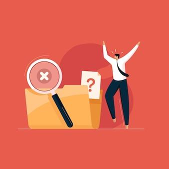 Злой человек с пустой папкой с файлами нет данных и поиск данных не найден.