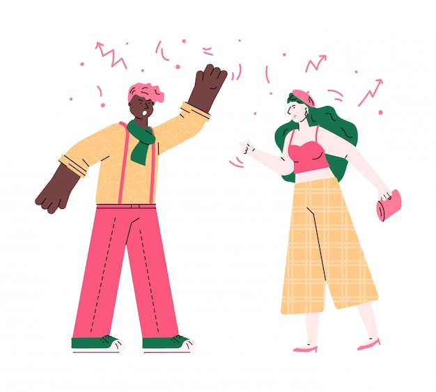Angry man and woman having a fight - couple relationship problem between young teenagers. guy and girl screaming and fighting- isolated flat vector illustration.