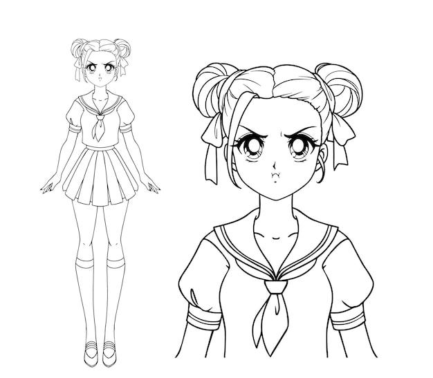 日本の制服を着た2つのおさげ髪の怒っている漫画の女の子。手描きイラスト。