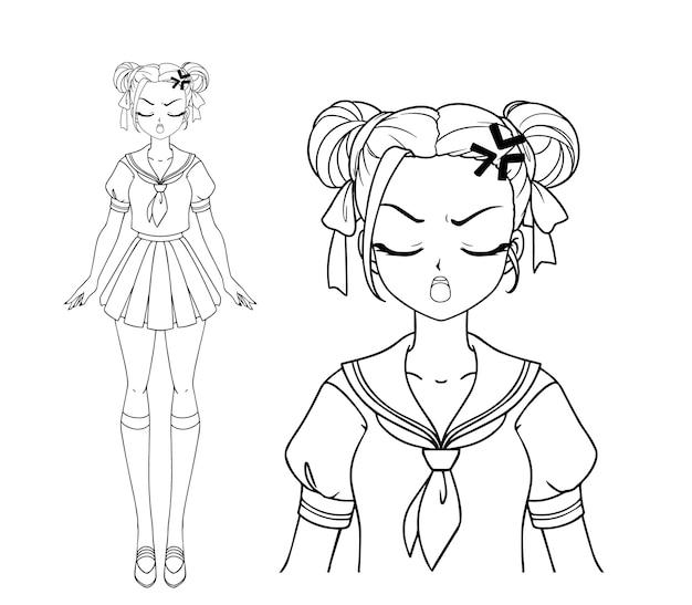 怒っている漫画の女の子と日本の学校の制服を着ている2つのおさげ髪
