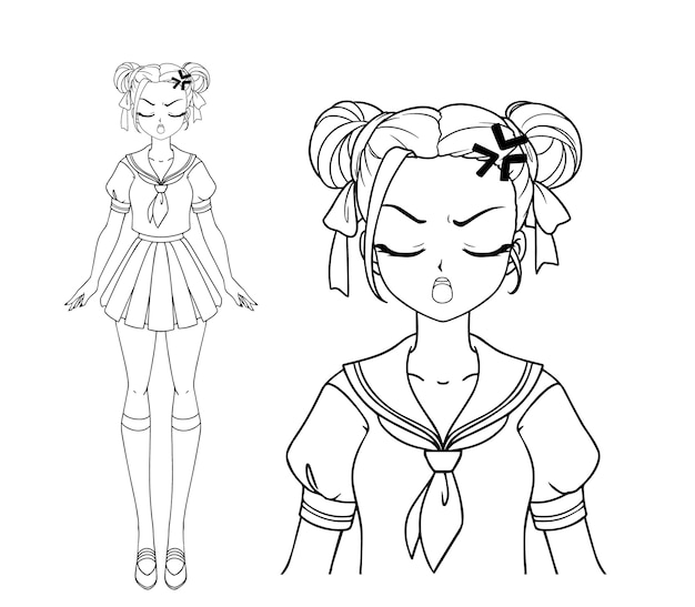 Angry manga girl with and two pigtails wearing japanese school uniform