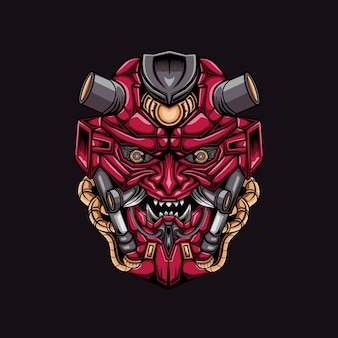 Angry mecha head mascot illustration art